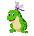 cute frog and butterfly vector image vector image