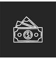 dollar banknotes chalk white icon on black vector image