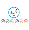 dollar pound swing rounded icon vector image vector image