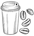doodle coffee cup portable disposable togo beans vector image vector image