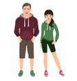 fashion couple in fitness outfit vector image vector image