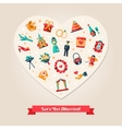 flat design wedding and marriage proposal heart vector image