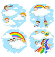 happy children playing on rainbow vector image vector image
