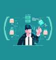 headset businessman put in order screen interface vector image