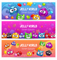 jelly world banners cute colorful templates with vector image