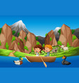 kids paddle boat in nature vector image vector image