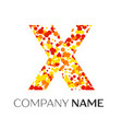 letter x logo with orange yellow red particles vector image vector image