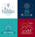 Merry christmas outline label set holiday element vector image vector image