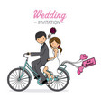 newlyweds on a bicycle vector image
