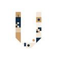 pixel art letter v colorful letter consist vector image vector image