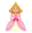 princess wearing crown and dress fantasy tales vector image