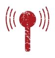 Red grunge TV tower logo vector image