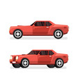 red sports powerful car with big engine vector image vector image