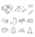 rest in the camping outline icons in set vector image