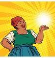 Retro woman African-American gesture promo vector image