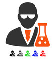 scientist with flask flat icon vector image