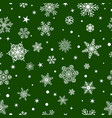 seamless pattern of snowflakes white on green vector image
