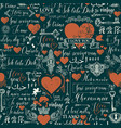 seamless pattern with love lettering and hearts vector image vector image