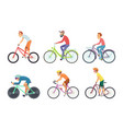 set bicycle sportsmen cartoon characters vector image vector image