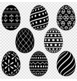 set of easter eggs with patterns vector image vector image