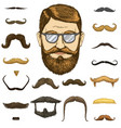 set of mustache and funny beard men and fashion vector image vector image