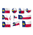 set wake island realistic flags banners banners vector image