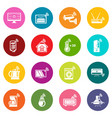 smart home icons set colorful circles vector image vector image
