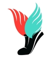 Sport shoes sign with wings vector image