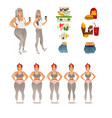 stages of losing weight of woman vector image