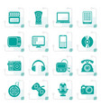 stylized multimedia and technology icons vector image vector image