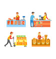 supermarket stores departments and sellers vector image vector image