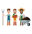 three men farmer work image vector image