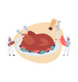 tiny chefs serving thanksgiving festive turkey vector image vector image