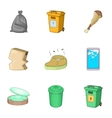 Trash for recycling icons set cartoon style vector image vector image