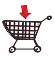 trolley shopping colored button with a black vector image vector image