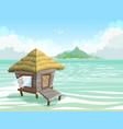 tropical island in ocean with bungalow vector image vector image