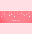 valentines day banner with hanging hearts design