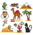 egypt traditional symbols map for travellers vector image