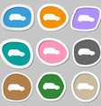 Jeep icon symbols Multicolored paper stickers vector image