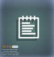 Notepad icon symbol on the blue-green abstract vector image