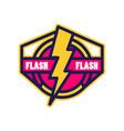 flash logo badge with lightning symbol design vector image