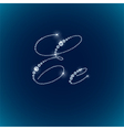 Shiny diamond alphabet letters blue background vector image