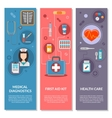 Three medical vertical banners with medical icons vector image