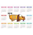 yellow dog - calendar 2018 year vector image