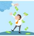 Businessman character under money rain vector image