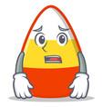 afraid candy corn character cartoon vector image