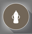 baby bottle sign white icon on brown vector image vector image