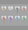 balloons in shape heart isolated on transparent vector image