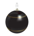 beautiful realistic new year 3d glassy black ball vector image vector image