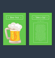 beer fest collection of posters with full mug vector image vector image